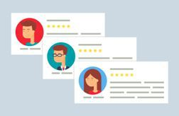 Animated stock photo displaying customer reviews for a business